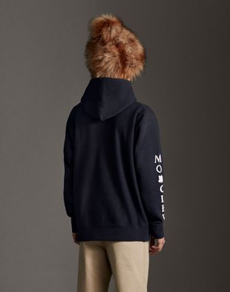 MONCLER Hoodies Collaboration Long Sleeves Plain Cotton Logos on the Sleeves 9