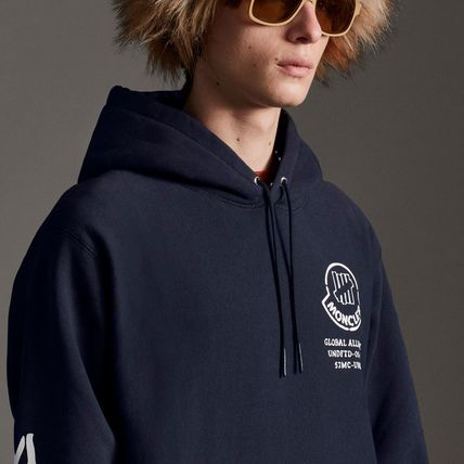 MONCLER Hoodies Collaboration Long Sleeves Plain Cotton Logos on the Sleeves 10