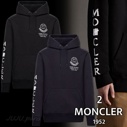 MONCLER Hoodies Collaboration Long Sleeves Plain Cotton Logos on the Sleeves