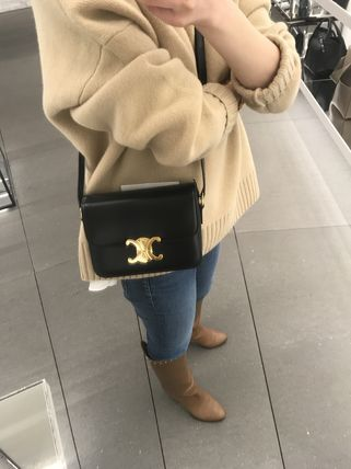 CELINE Triomphe Casual Style Elegant Style Crossbody Logo Shoulder Bags
