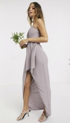 Sleeveless Plain Long Dresses