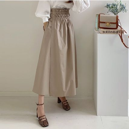 Flared Skirts Casual Style Plain Cotton Long Party Style