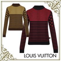 Louis Vuitton Stripes Monogram Casual Style Cashmere Long Sleeves Medium