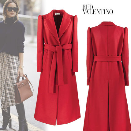 Wool Cashmere Plain Long Office Style Elegant Style Coats