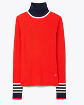 TORY SPORT Wool Long Sleeves Plain Logo Turtlenecks