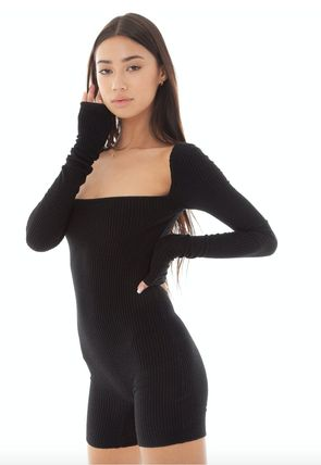 Casual Style Tight Long Sleeves Plain Dresses