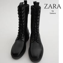 ZARA Lace-up Casual Style Plain Leather Lace-up Boots