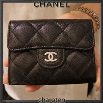 CHANEL TIMELESS CLASSICS Unisex Calfskin Plain Leather Folding Wallet Small Wallet