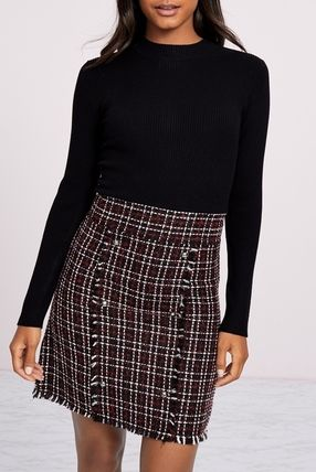 Crew Neck Short Other Plaid Patterns Casual Style Tight Wool
