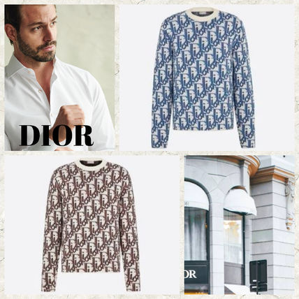 Christian Dior Sweaters Wool Cashmere Long Sleeves Logo Luxury Sweaters