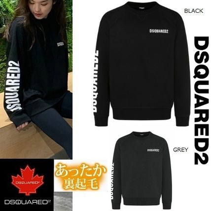 D SQUARED2 Sweatshirts Unisex Street Style U-Neck Long Sleeves Logos on the Sleeves