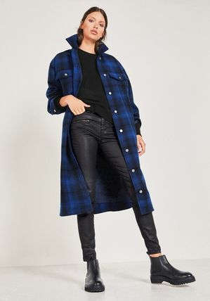 Other Plaid Patterns Casual Style Wool Long Coats