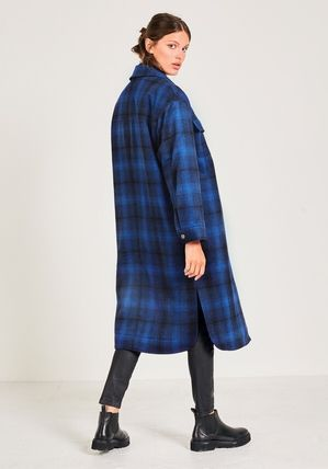 hush More Coats Other Plaid Patterns Casual Style Wool Long Coats 3
