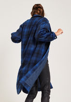 hush More Coats Other Plaid Patterns Casual Style Wool Long Coats 5