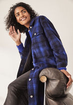 hush More Coats Other Plaid Patterns Casual Style Wool Long Coats 6
