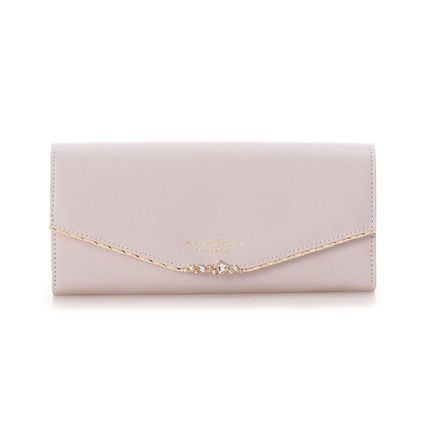 Heart Plain Leather With Jewels Folding Wallet Icy Color