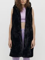 RESERVED Faux Fur Plain Long Fur Vests Vest Jackets