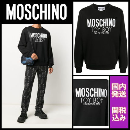 Moschino Sweatshirts Crew Neck Long Sleeves Cotton Logo Sweatshirts
