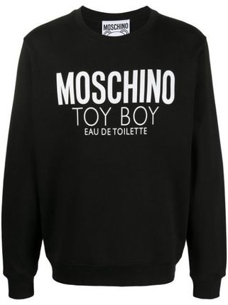 Moschino Sweatshirts Crew Neck Long Sleeves Cotton Logo Sweatshirts 2