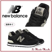 New Balance 574 Leopard Patterns Plain Toe Casual Style Suede Street Style