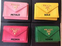 PRADA Calfskin Plain Leather Small Wallet Logo Coin Cases