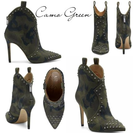 Cowboy Boots Studded Plain Pin Heels Party Style Python