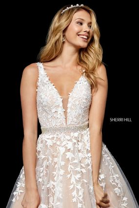 A-line Sleeveless V-Neck Long Bridal Dresses