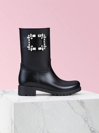 Studded Plain Block Heels PVC Clothing Rain Boots Boots