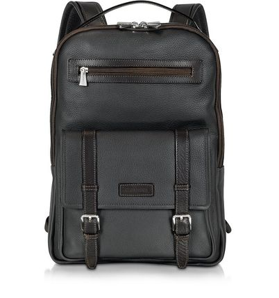 Plain Leather Logo Backpacks
