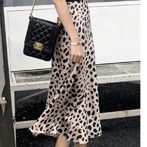 Flared Skirts Leopard Patterns Casual Style Long