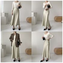 Flared Skirts Casual Style Silk Street Style Plain Long