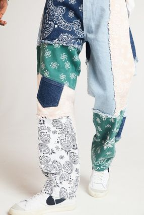 JADED LONDON More Jeans Printed Pants Paisley Denim Street Style Plain Oversized 2