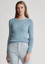 Ralph Lauren Crew Neck Cable Knit Casual Style Rib Long Sleeves Cotton
