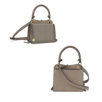 2WAY Plain Leather Elegant Style Logo Shoulder Bags