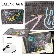 BALENCIAGA Leather Logo Clutches
