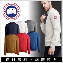 CANADA GOOSE Crew Neck Pullovers Monogram Wool Street Style Long Sleeves