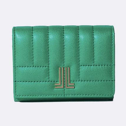 Plain Leather Folding Wallet Logo Icy Color Card Holders