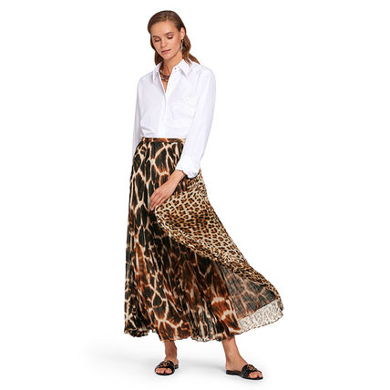 Leopard Patterns Casual Style Maxi Pleated Skirts