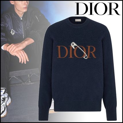 Christian Dior Sweaters Crew Neck Pullovers Wool Street Style Long Sleeves Plain