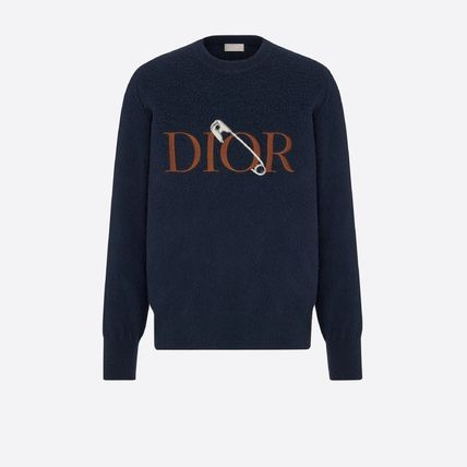 Christian Dior Sweaters Crew Neck Pullovers Wool Street Style Long Sleeves Plain 2
