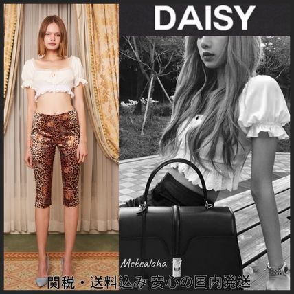 Daisy Cropped Short Puff Sleeves Cropped