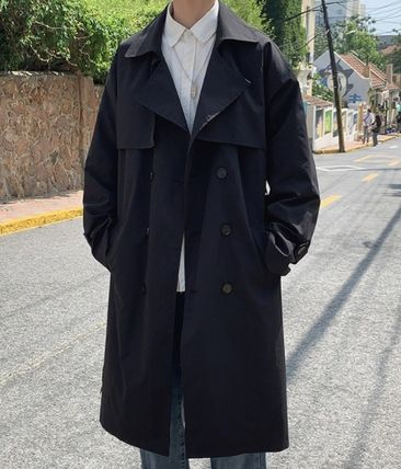 Street Style Plain Long Oversized Trench Coats