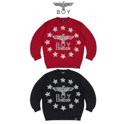 BOY LONDON Sweaters Crew Neck Pullovers Star Unisex Street Style Long Sleeves