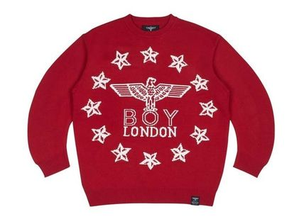 BOY LONDON Sweaters Crew Neck Pullovers Star Unisex Street Style Long Sleeves 2