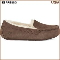 UGG Australia ANSLEY Rubber Sole Casual Style Suede Plain Logo Flats