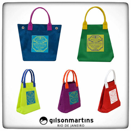 Casual Style A4 2WAY Bi-color Plain Handmade Totes