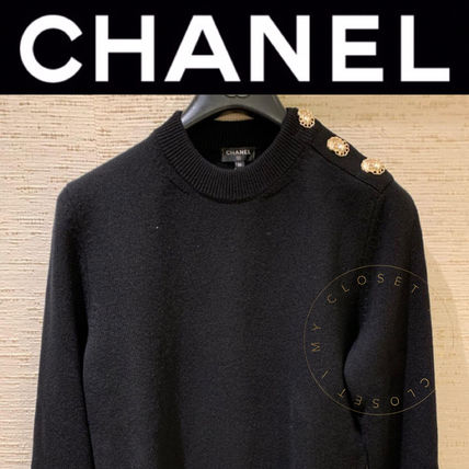 CHANEL ICON Crew Neck Casual Style Street Style Long Sleeves Plain