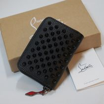Christian Louboutin Panettone  Unisex Studded Plain Leather Logo Coin Cases