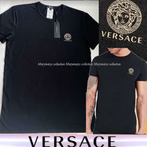 VERSACE U-Neck Plain Short Sleeves Logo Luxury T-Shirts