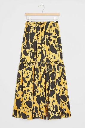 Flared Skirts Casual Style Maxi Other Animal Patterns Long